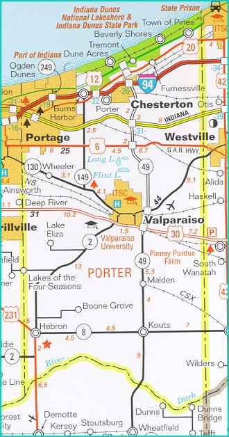 Porter Indiana Map.Indiana Porter County Every County